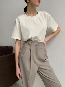 Korean Tops Tee-Shirt Knitted Harajuku Loose WOTWOY Cotton Women Summer O-Neck Female