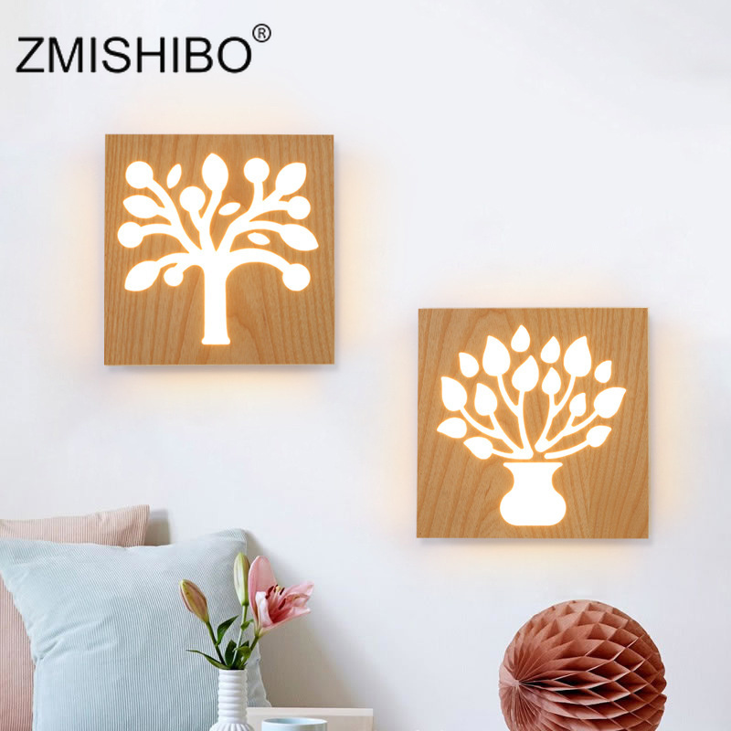 ZMISHIBO Aisle Staircase Decor <font><b>Wall</b></font> <font><b>Lamp</b></font> Solid <font><b>Wood</b></font> Rubber <font><b>Wood</b></font> Nordic Creative Bedroom Bedside <font><b>Lamp</b></font> Decoration Led <font><b>Wall</b></font> Lights image