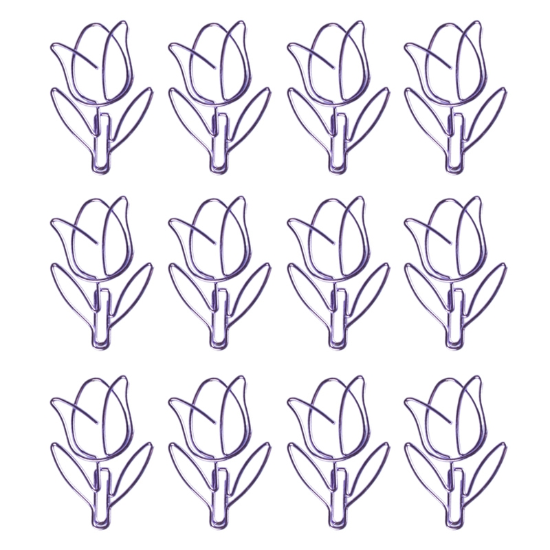 12 Pcs/Box Purple Paper Clip Tulip Shaped Bookmark Stationery For Diy Diary Album Office Student Marking Clips
