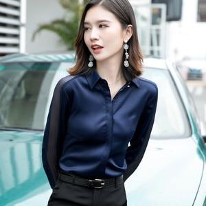 Image 2 - Fashion Women Shirt New Spring Autumn Temperament Long Sleeve Formal Slim Satin Blouses Office Ladies Plus Size Work Tops