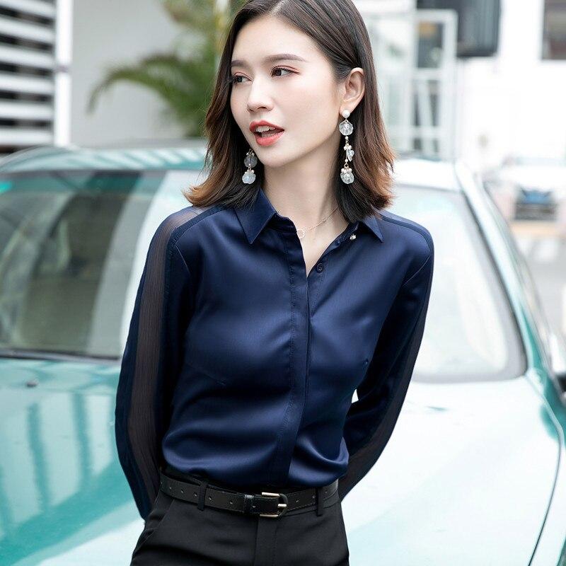 Image 2 - Fashion women shirt 2019 Spring autumn New temperament long sleeve formal slim satin blouses office ladies plus size work topsBlouses & Shirts   -