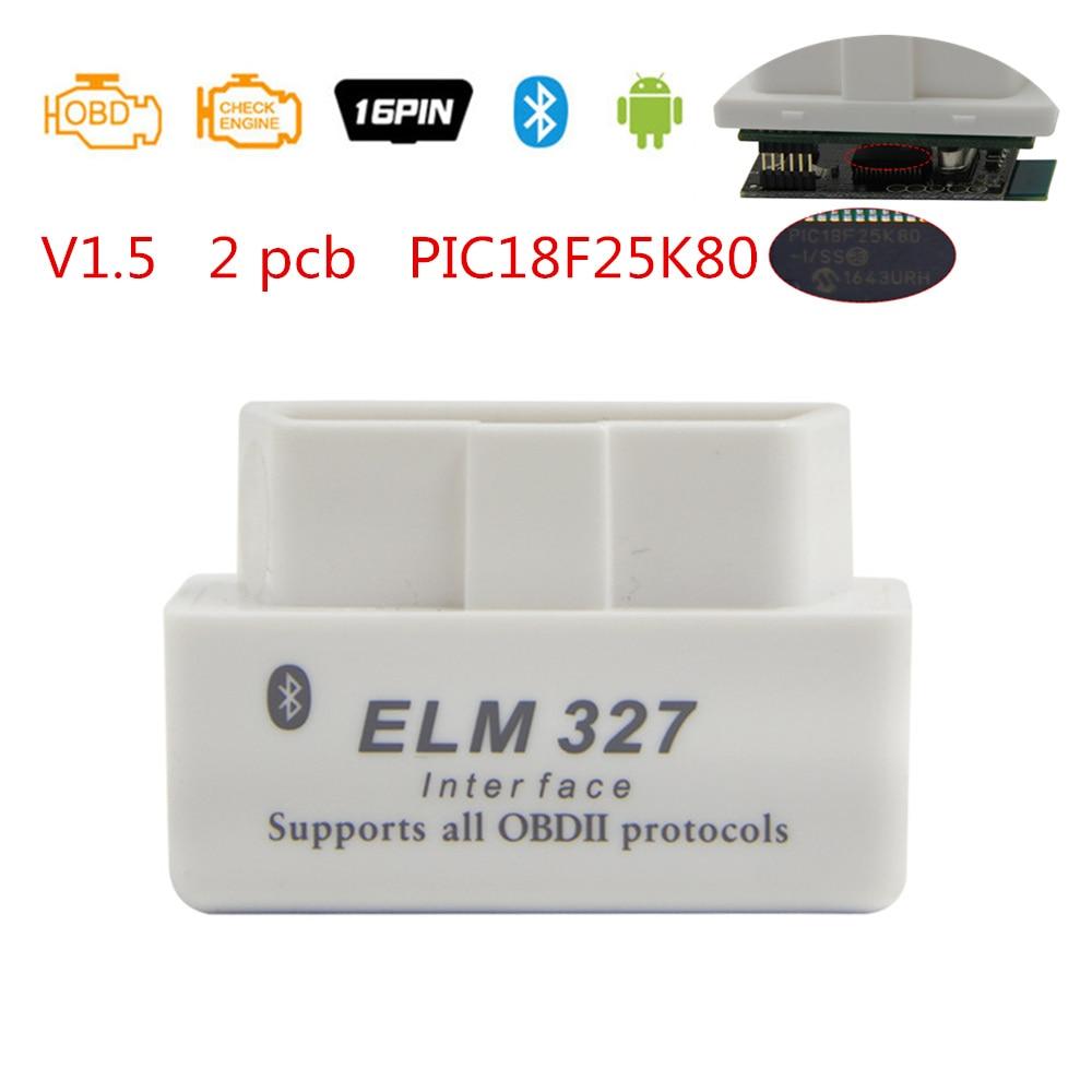 ELM 327 V1.5 For Android Chip PIC18F25K80 Bluetooth 2.0 OBD2 Car Diagnostic Tool Mini ELM 327 V1.5 OBD Scanner Fault Code Reader
