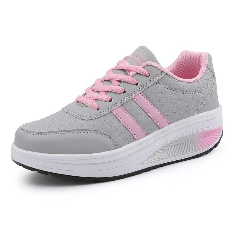 Women Sport Toning Shoes Outdoor Black Blue Ladies Walking Flat Sneakers Thick Sole Women Height Increasing Platform Trainer