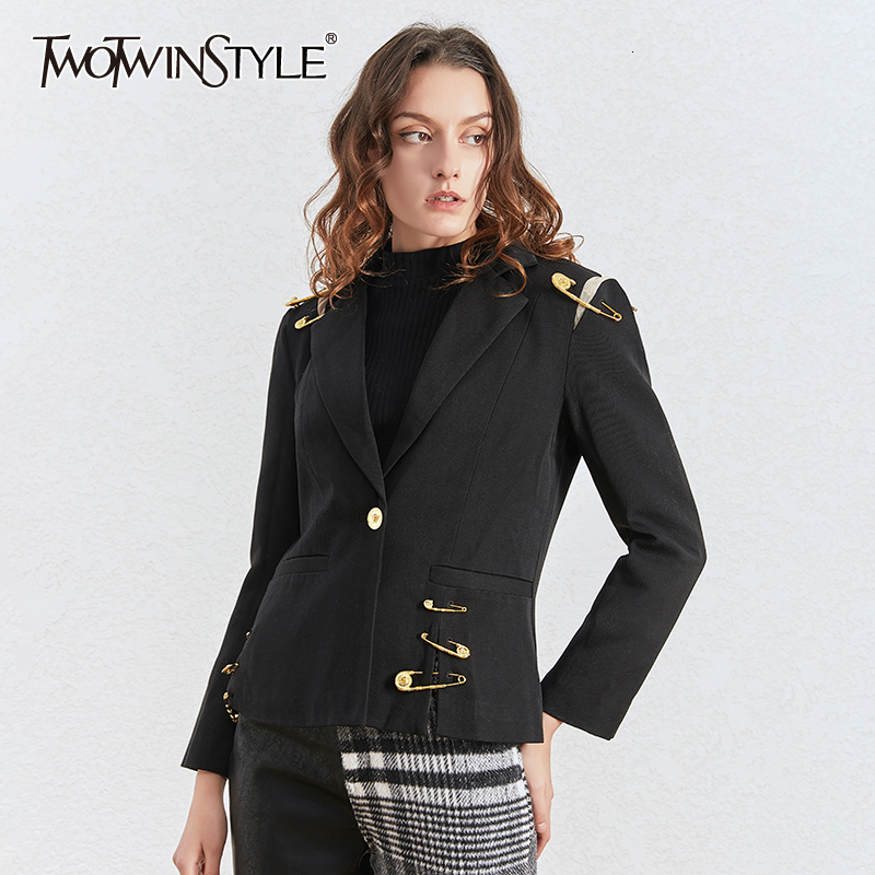 TWOTWINSTYLE Patchwork Pins Hollow Out Women's Blazer Notched Long Sleeve Slim Elegant Female Suits Autumn Clothing Fashion Tide