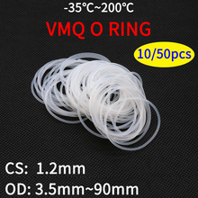 10/50pcs VMQ White Silicone O Ring Gasket CS 1.2mm OD 3.5 ~ 90mm Food Grade Waterproof Washer Rubber Insulate Round O Shape Seal