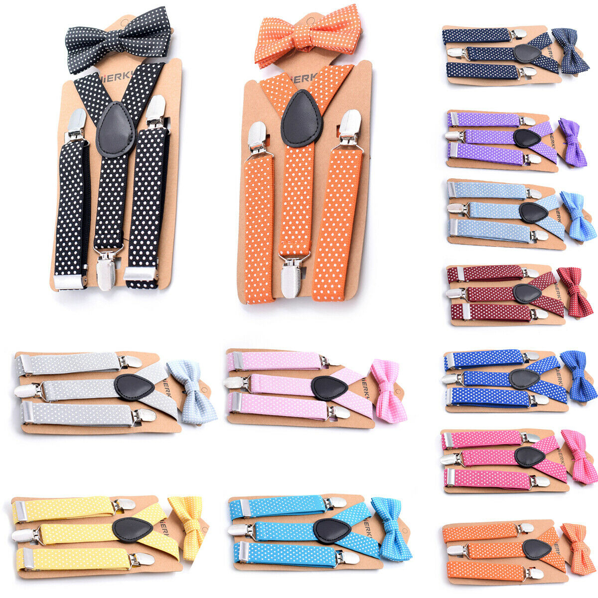 "Baby//Toddler/'s Black Dot Bowtie /& Matching Black Dot 25/"" Adjustable Suspenders"