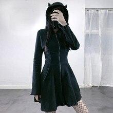 Femmes chat oreille à capuche robes pull à manches longues à capuche mignon robe Punk gothique solide noir élégant Sexy doux robes quotidiennes