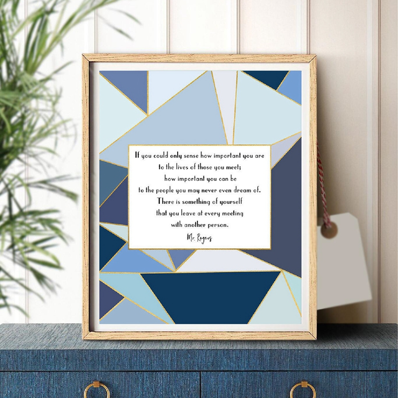 Office Decor Social Worker Mr. Rogers Quote Prints Geometricl Navy Blue Typography Wall Art Canvas Painting Inspirational Poster image