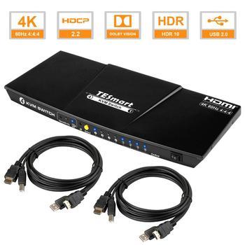 TEsmart HDMI 4K@60 USB HDMI KVM Switch 4 Port USB KVM HDMI Switch Support 4K*2K@60Hz Extra USB2.0 Port d lin k dkvm 4k 4 port kvm