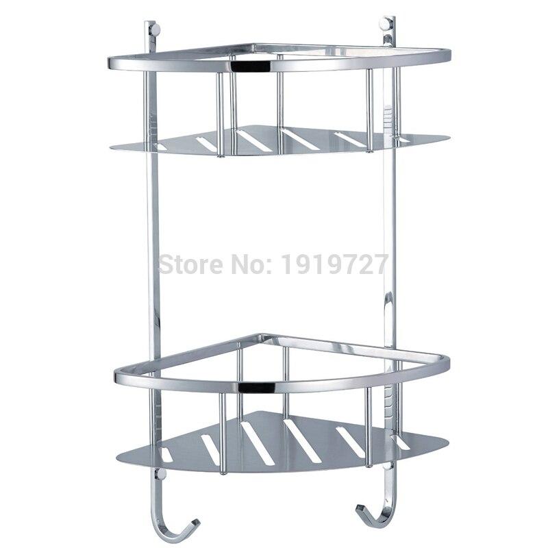 Vidric Factory Direct High Quality Wholesale Shower Corner Shelf Stainless Steel Caddy Bathroom Organizer Storage Dual Layer