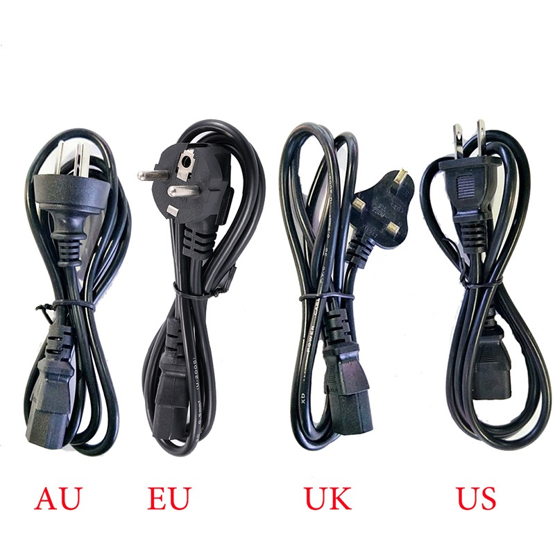 AC85V-265V Power Cord Cable EU US UK AU Adapter 1.2M Cable 3 Prong Connector for PC Charge Power Supply 3D Printer