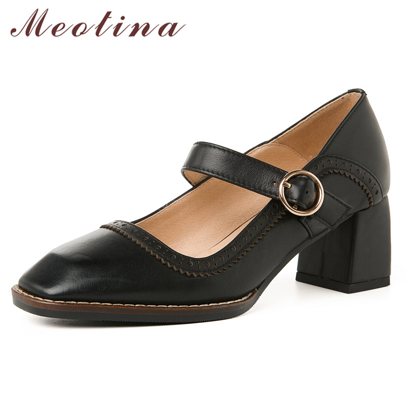 Meotina High Heels Women Pumps Natural Genuine Leather Thick High Heel Mary Janes Shoes Cow Leather Buckle Square Toe Shoes Lady
