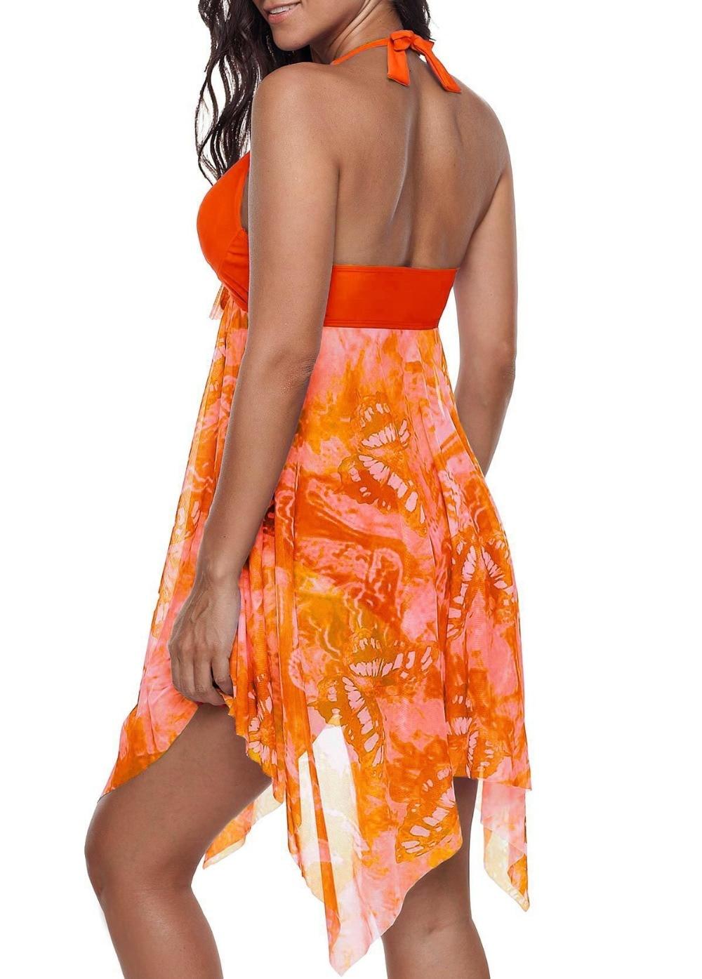 Mesh Women Tankini Swimdress Plus Size Swimwear 5XL One Piece Large Size Swimsuit With Skirt Push Up Halter Bathing Suit  (4)