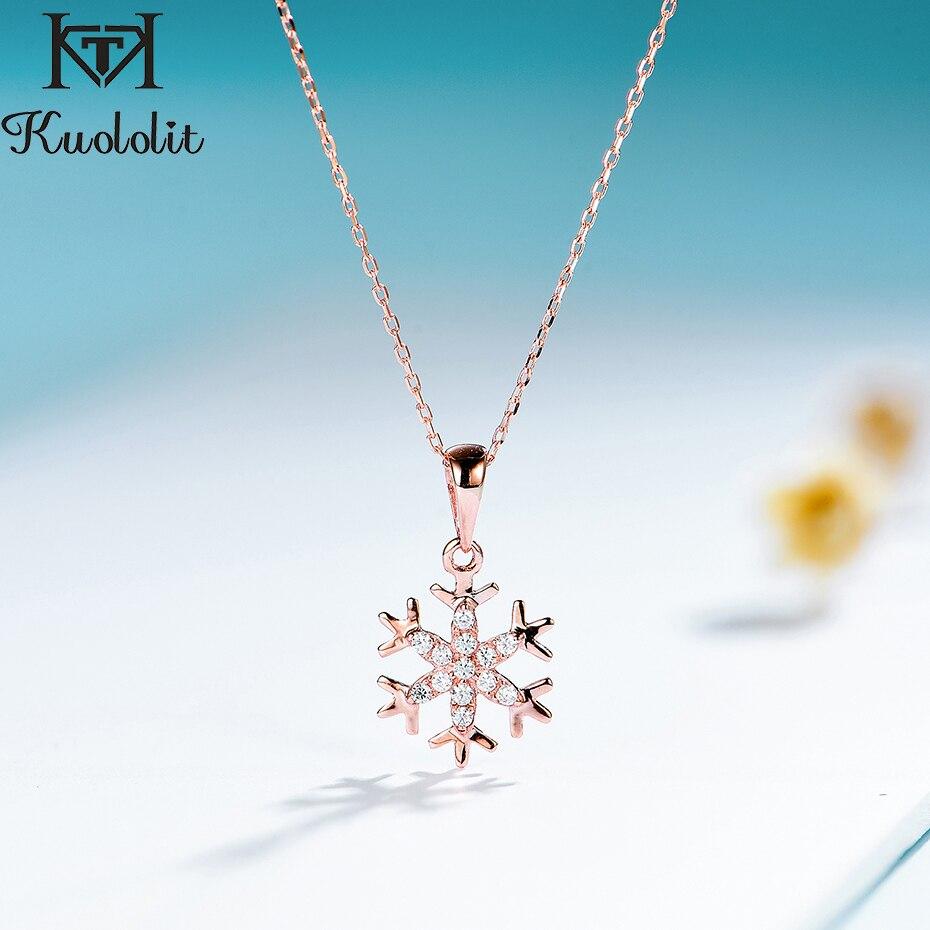 Kuololit diamant naturel solide 10K pendentifs de pierres précieuses pour les femmes de luxe en or Rose flocon de neige fiançailles bijoux fins cadeau de noël