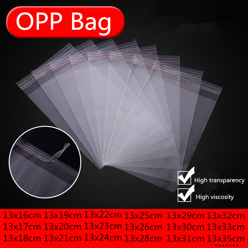 Multi Size 100Pcs Transparent Resealable Cellophane OPP Poly Bags Self Adhesive Plastic Bag Self Adhesive Seal Bags&Candy Bags