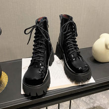 2020 New British Patent Leather Hight-Top Martin Boots Women's Platform Vintage Motorcycle Boots Bootie(China)