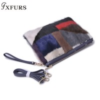 2019 New Women Mink Fur Bags Patchwork Envelope bag Lady's Bag Clutch Shoulder Slung Non fixed Color Wrist Bags Cross body Messenger Bag