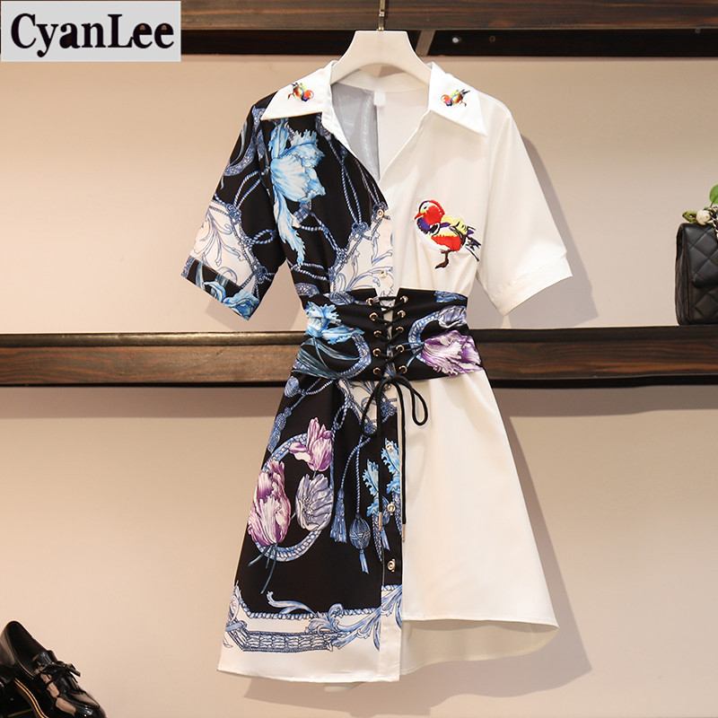 Plus Size Dress Women Summer Retro Printing Irregular Shirt Dresses Women Lapel Short Sleeve Brid Embroidery Patchwork Vestido