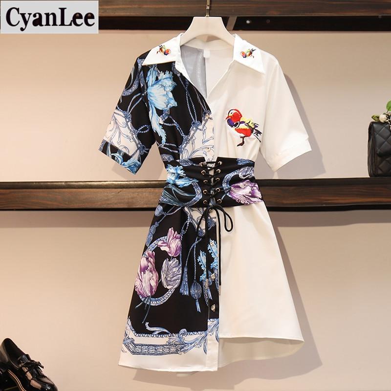 Plus Size Dress Women Summer Retro Printing Irregular Shirt Dresses Women Lapel Short Sleeve Brid Embroidery Patchwork Vestido