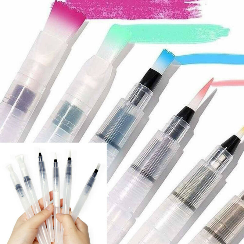 3/6pcs Water Color Brush Refillable Pen Watercolor Color Drawing Art Supply Painting Small Middle Large Size