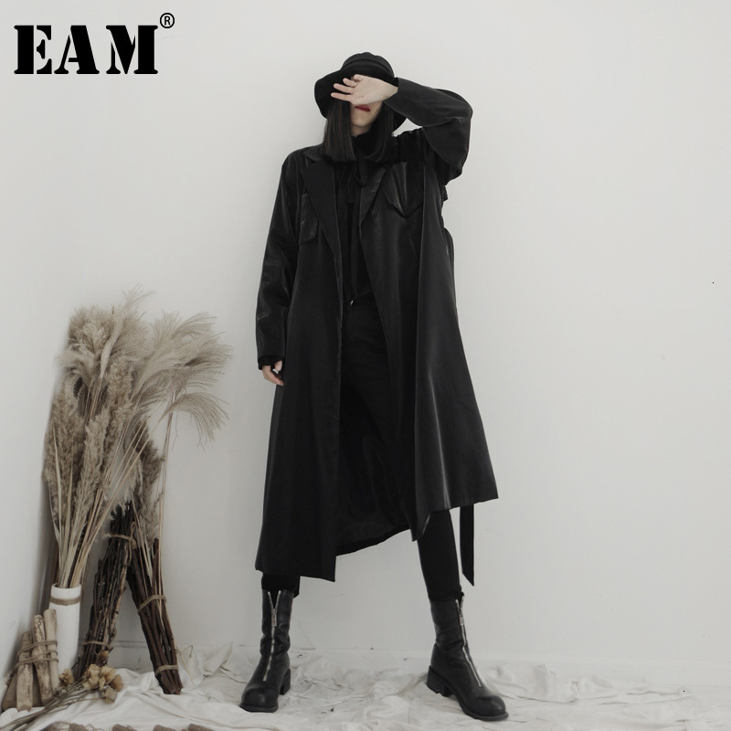 [EAM] Women Black Bandage Big Size Trench New Lapel Long Sleeve Loose Fit Windbreaker Fashion Tide Spring Autumn 2020 19A-a587