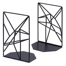 Bookends Black,Decorative Metal Book Ends Supports for Shelves,Unique Geometric Design for Shelves,Kitchen Cookbooks,Decorative(China)