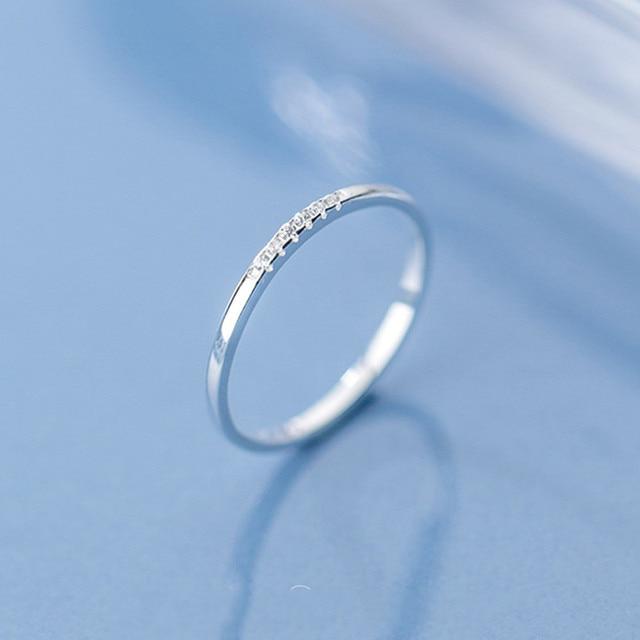 INZATT Real 925 Sterling Silver Zircon Round Geometric Ring For Fashion Women Cute Fine Jewelry 2019 Minimalist Accessories Gift 2