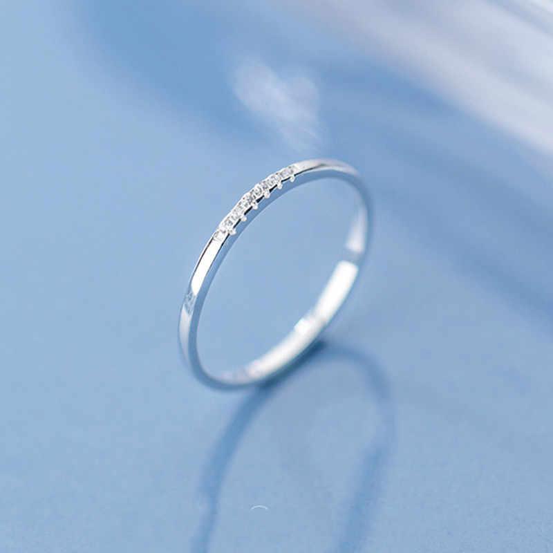 Inzinger anel prata esterlina 925, prata de lei zircão redondo geométrico para mulheres moda joias finas 2019 acessórios minimalista presente