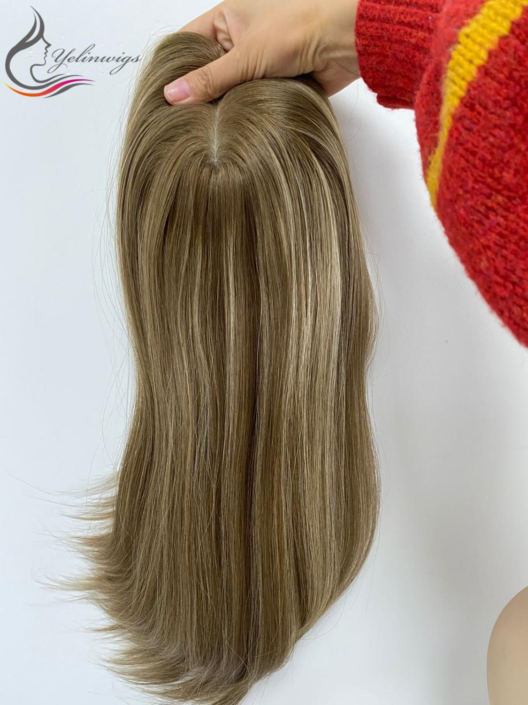 Stock Piece Best Grade European Virgin Hair Silk Base Top Jewish Topper Popular Hair Pieces For White Women