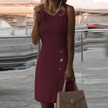 White Dress Office Dress Casual Summer Sleeveless Solid Color Temperament Dress Dresses for Women Autumn Casual Cocktail Dress Dresses Elegant Dresses Evening Knee-Lenght Mini O Neck Party Print Dresses Sexy Sleeveless Slim Summer Women Color: Wine Red Size: 5XL