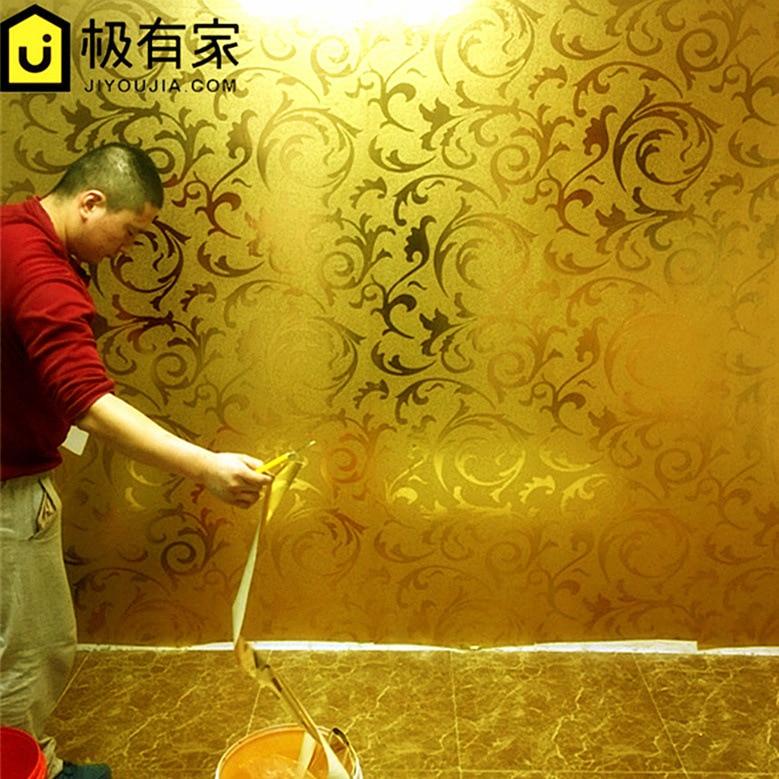 Gold Foil Wallpaper Gold Silver European Style Acanthus Leaf KTV Ceiling Living Room Bedroom TV Background Wallpaper