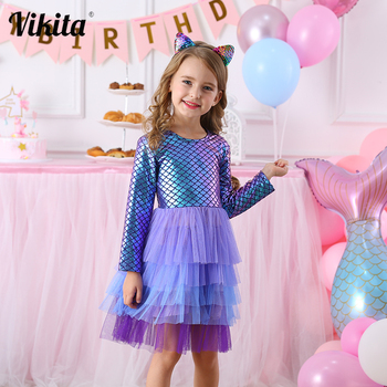 VIKITA Girl Princess Dress Autumn Wedding Birthday Party Tutu Vestidos Kids Dresses For Girls Children Christmas Costumes vikita girls unicorn dress princess tutu dress for girls children birthday party licorne vestidos kids autumn winter dresses