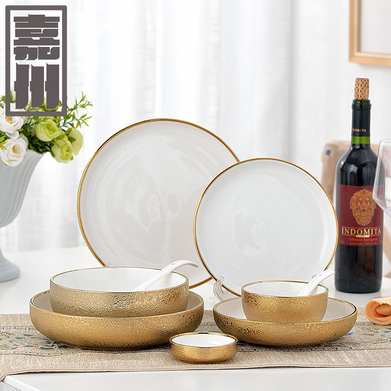 FANTERCY Tableware Ceramic Tableware Creative Matte Light Embossed Gold Bowl Soup Dish Home Western Dishes and Plates Sets