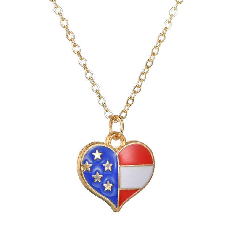 Projeto Da Bandeira Americana Pentagrama Pingente de Colar Para As Meninas das mulheres da Forma Do Coração Clássico Anniversary Colares Jewerly Presente Produto