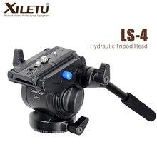 Xiletu LS 4 handgrip vídeo fotografia fluido arrastar cabeça do tripé hidráulico e placa de liberação rápida para manfrotto