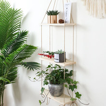 Home Decor With Rope Wall Swing Rustic Wooden Living Room Storage For Plants Flower Pot Rack Floating Display Hanging Shelf(China)
