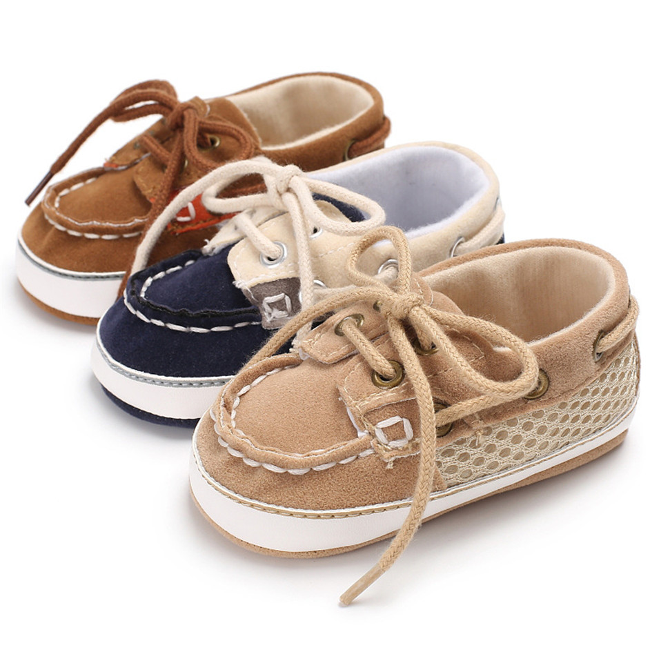 Brand Vintage PU Leather Baby Shoes Non-Slip Newborn Infant T-tied First Walkers Baby Boy Girls Toddler Lace-UP Soft Sole Shoes
