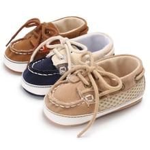 Zapatos de bebé de piel sintética de marca Vintage antideslizantes para recién nacidos, zapatos de suela blanda con cordones para bebés y niñas