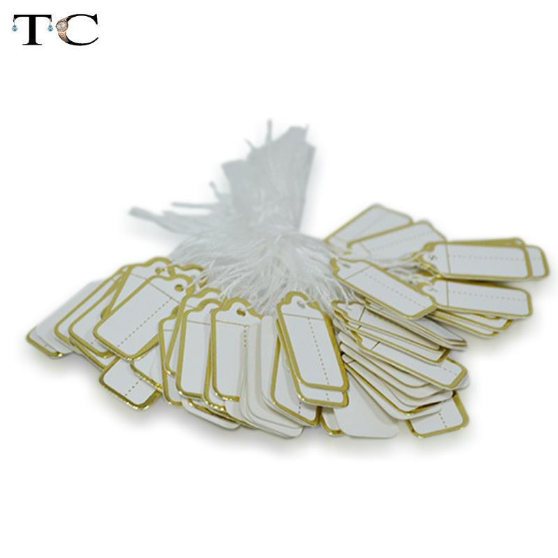 100 Pcs Jewelry Strung Pricing Price Tags With String Gold Merchandise Cloth Label,FREE SHIPING