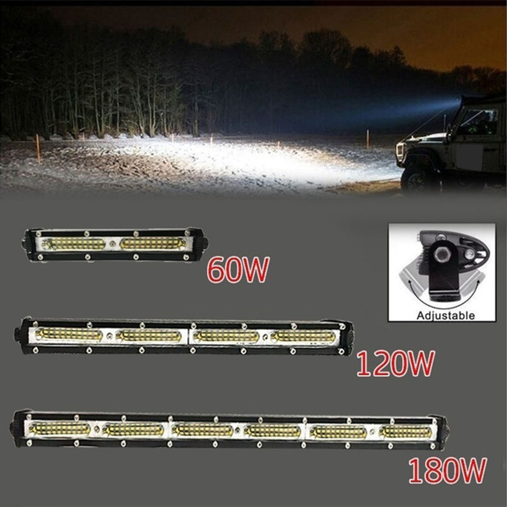 LED Light Bar Spotlight Searchlight for Tractor Trailer Auto Car Motorcycle Ramp Lamp Worklight 7/13/19 inch 60W/120W/180W