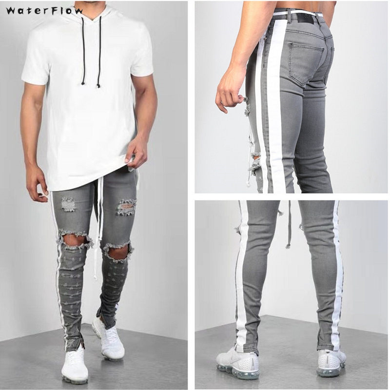 Ripped Jeans For Mens Slim Fit Pants Classic Jeans Hole-in Elastic Tight Jeans Skinny Straight Elasticity Pants