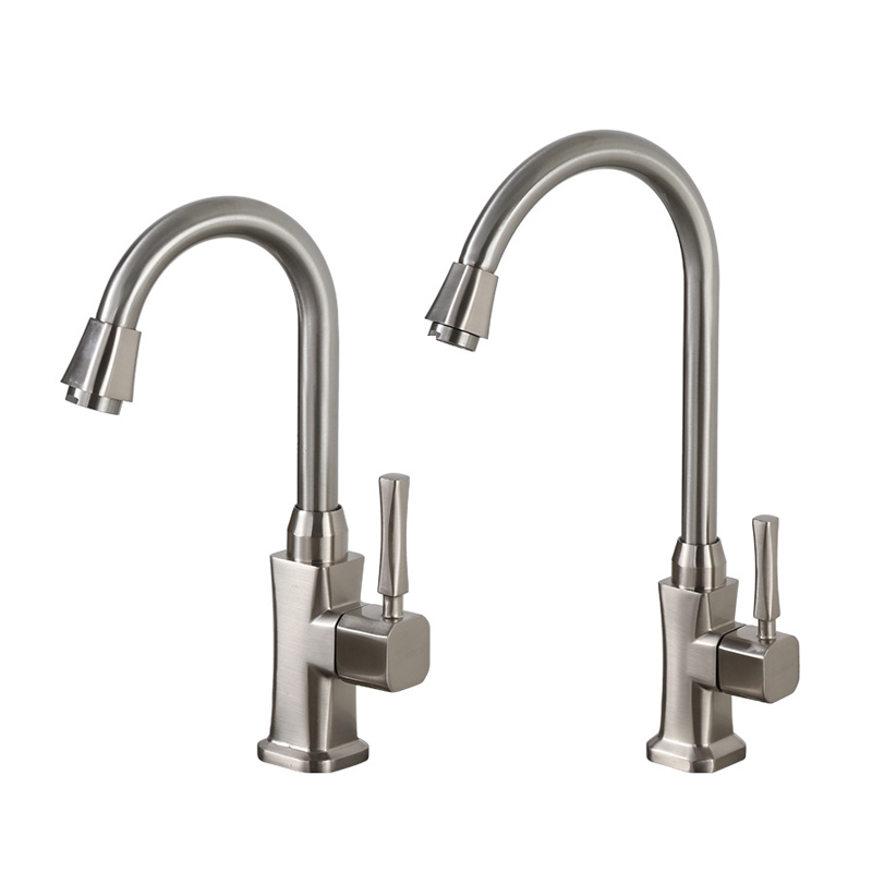 Kitchen Faucet Zinc Alloy Brushed Process 360 Degree Rotatable Spout Sink Basin Water Faucet Single Cold Water Tap Deck Mounted