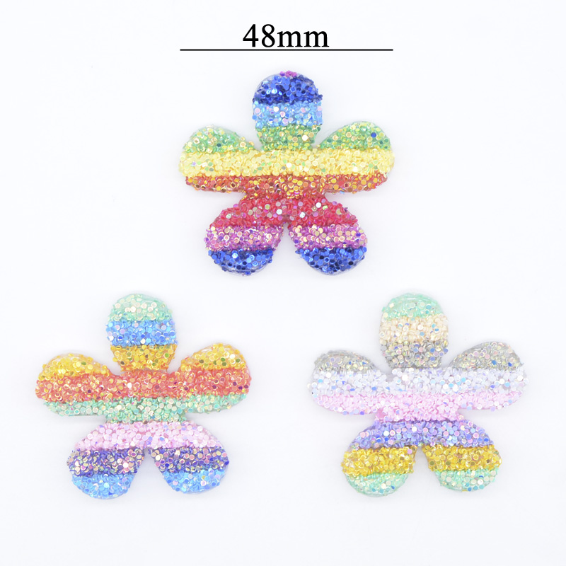 6Pcs 48mm Shiny Baby Kids Sweet Flower Patches Barrette Headwear DIY Crafts Supply Home Decor Hat Shoes Accessory