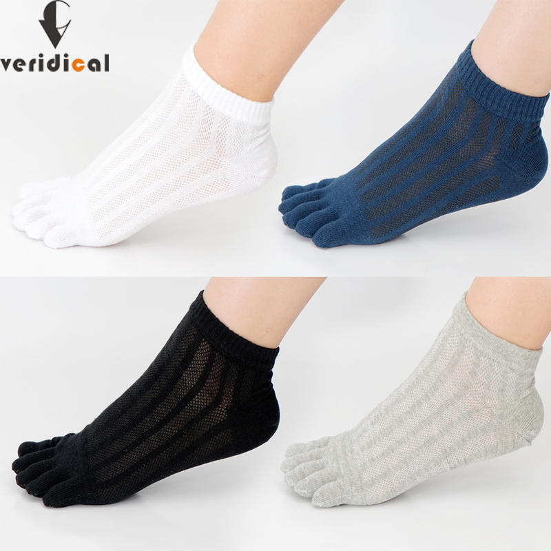 VERIDICAL 5 Pairs/lot Five Fingers Socks For Mans Cotton Mesh Breathable Summer Solid Socks With Toes Athletic Ankle Cool Socks