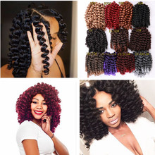 "FAVE 8"" 20 Strands Wand Curl Black Purple/Red/Grey/Brown Kinky Crochet Twist Braiding Hair Extension For Women Synthetic Bundle(China)"