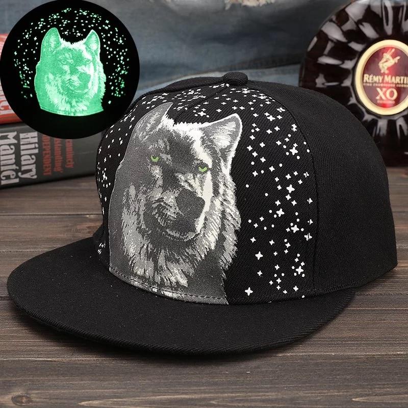 Korean Fashion Luminous Baseball Cap Men And Women Snapback Sport Wild Fluorescent Hip-hop Hat Flat Brim Sunshade Cap