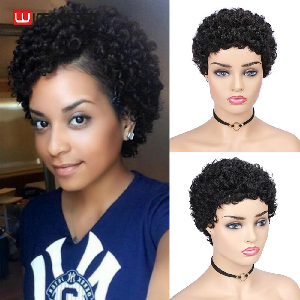 Wignee Short Curly Human Hair Wig For Black Women Remy Brazilian Hair Afro Jerry Curl Glueless Pixie Cut Human Wig Free Shipping