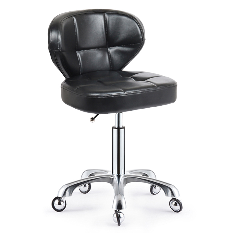 High-grade Beauty Stool Work Bench With Backrest Stainless Steel Nail Salon Barber Shop Chair Rotating Lift Explosion-proof