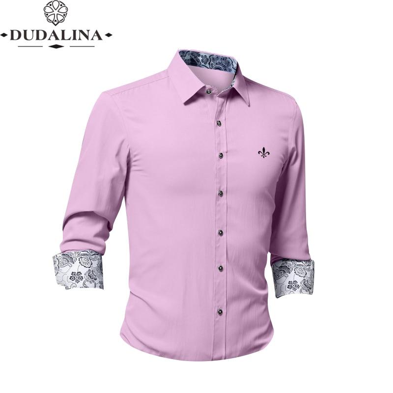 Fashion Blusa Camisa Social Masculina Dudalina Long Sleeve Slim Fit Shirt Men Floral Clothes Pullover Male White Printed