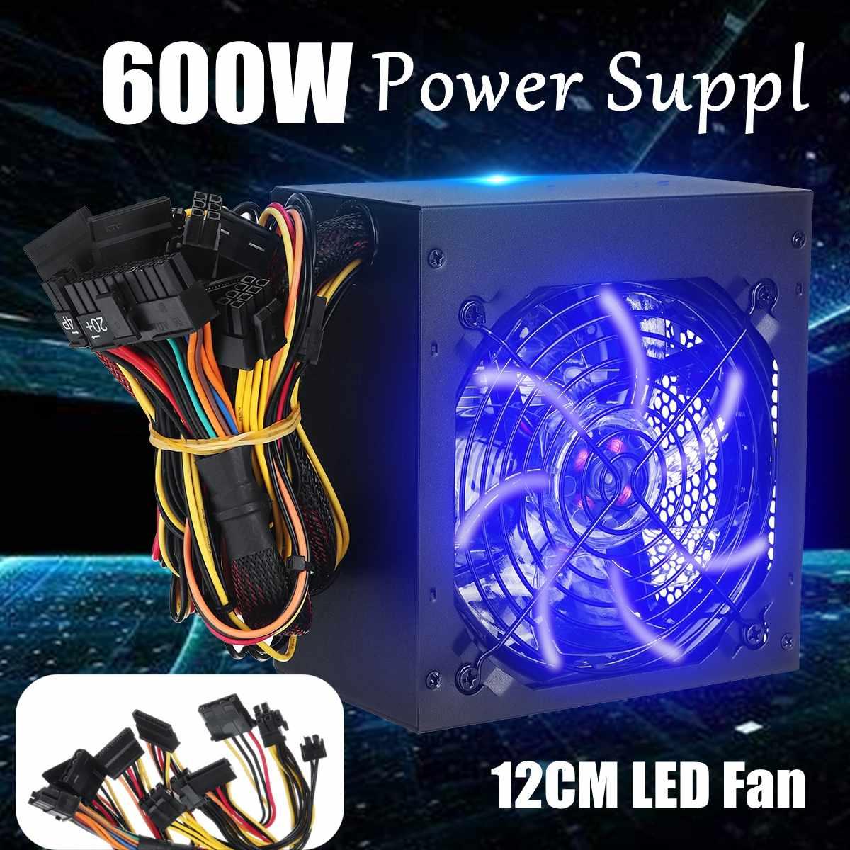 600W alimentation PSU PFC 12cm LED ventilateur silencieux ATX 24pin 12V ordinateur SATA Gaming PC alimentation pour ordinateur Intel AMD